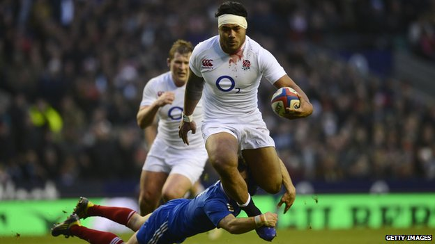Manu Tuilagi in action in Saturday's game against France, from bbc.co.uk