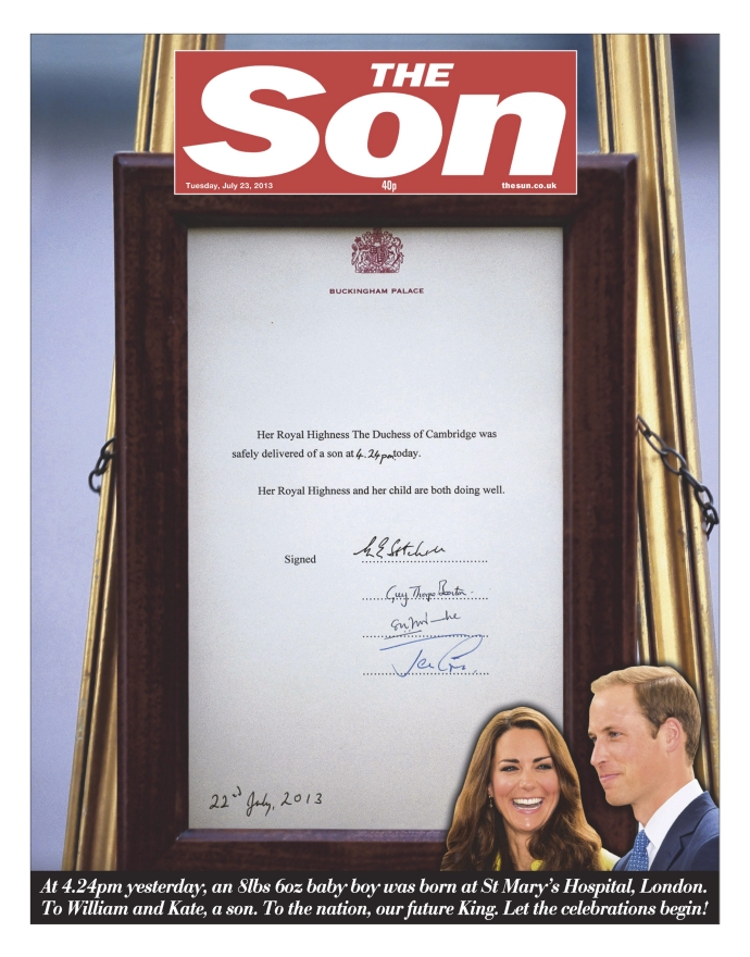 The Sun Front page 23/07/2013